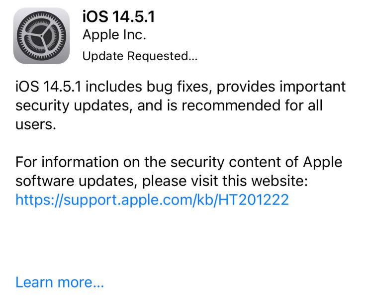 Install iOS 14.5.1 for Better Security