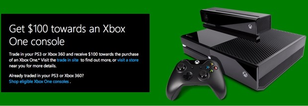 Trade in your old Xbox or PS3 to get a Xbox One for $250.