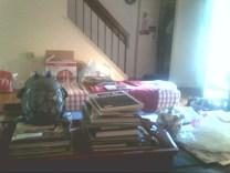 indoors, full sunlight, messy living room