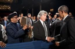 Spike Lee photographs President Barak Obama with iPad 2