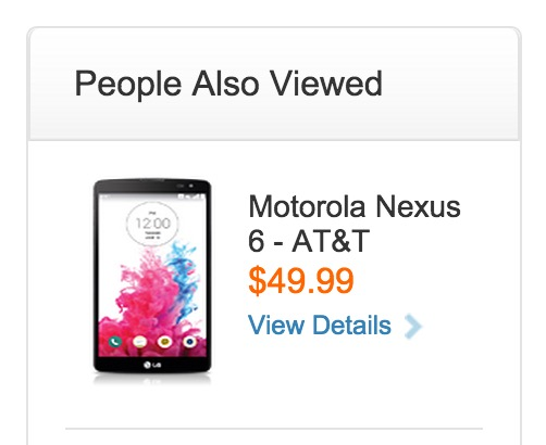 The AT&T Nexus 6 price shows an affordable $49 on contract, but it may be a placeholder.
