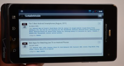 Droid 3 Review display landscape