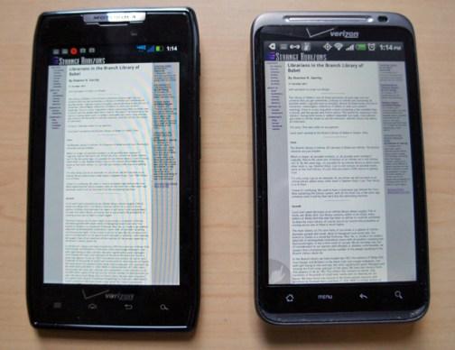 Droid RAZR and HTC Thunderbolt - screen comparison