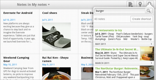 Evernote Android Tablet Search