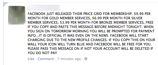 Facebook not charging
