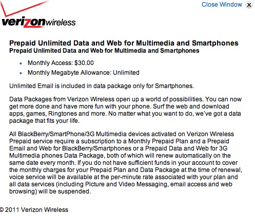 Verizon Maintains Unlimited Prepaid Smartphone Data for $30