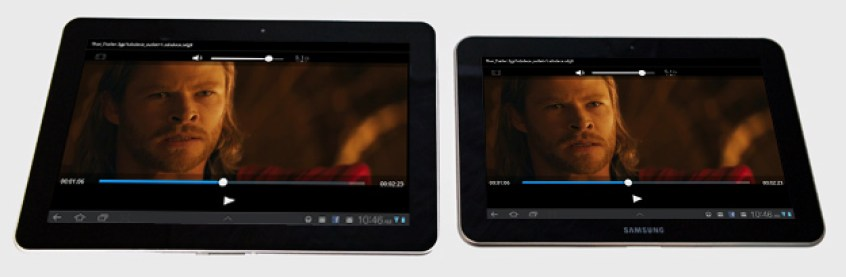 Samsung Galaxy Tab 10.1 on the left, 8.9 on the right