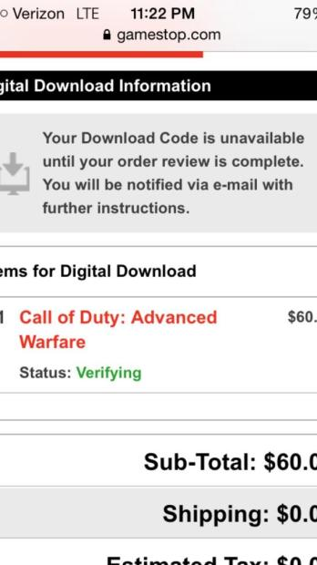 """GameStop Call of Duty: Advanced Warfare codes are missing and still """"Verifying for some users."""