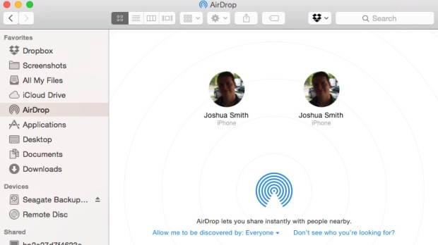 Find the iPhone you want to AirDrop to from Finder on Mac.