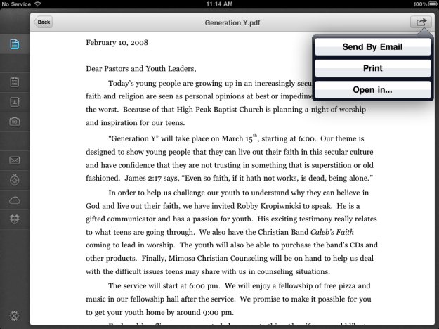 PDF converter ready to share a document