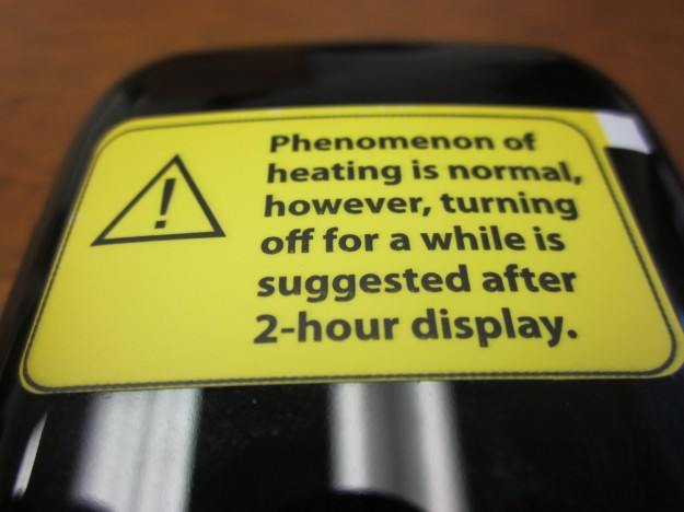 MiLi Pico Projector warning