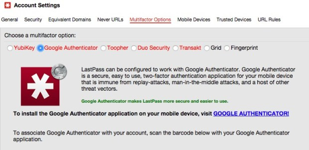 You can also secure LastPass with two-factor authentication.