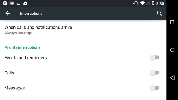Turn off Priority Interruptions for silent mode on Android 5.0.