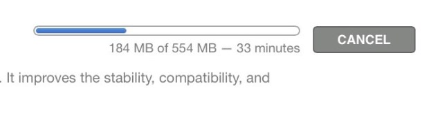 The update is a decent size and takes time to download.