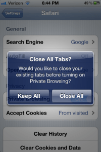 Private Browsing in iOS 5