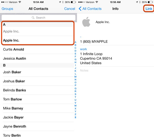 Find the duplicate iPhone contact and link it.