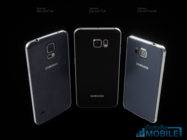 The Galaxy S6 concept next to the Galaxy S5 and Galaxy Alpha.