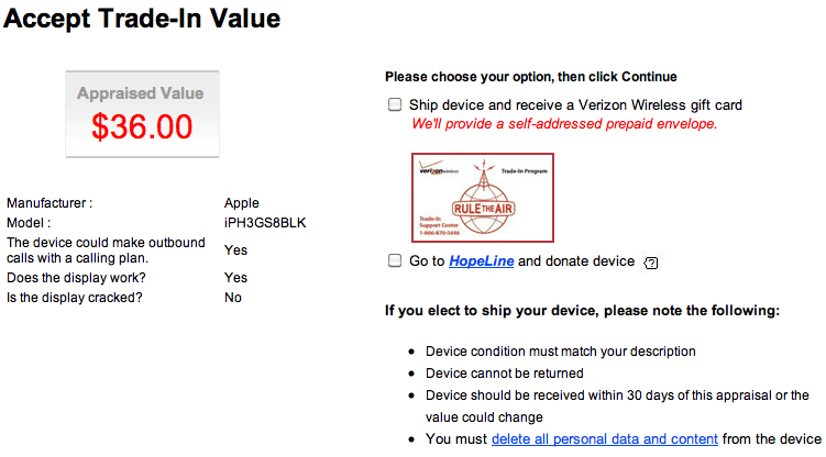 Verizon offers credit for trade ins for Trading websites like craigslist