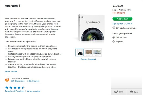 Aperture 3 in Apple Online Store