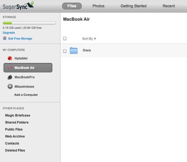 SugarSync Web Interface
