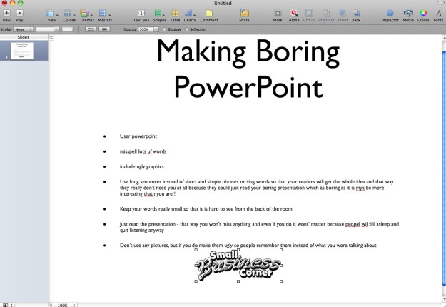 Example of a Bad Presentation Slid