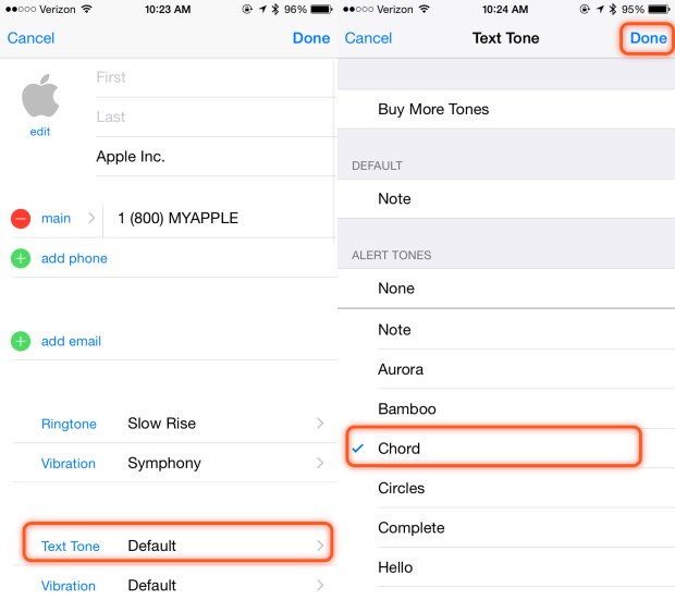 Set a contact text tone on iPhone.