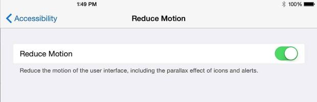 Reduce Motion on the iPad 2 or iPad 3 for better performance on iOS 8.