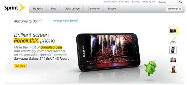 No Sprint iPhone 4S info in sight.