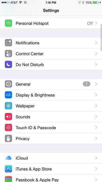 Open the iPhone Settings and find the iCloud settings page.