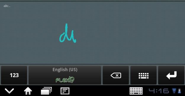 FlexT9 Handwriting Area - ThinkPad Tablet