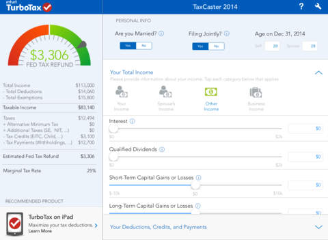 Use a tax calculator app to get a free 2014 tax refund estimate.