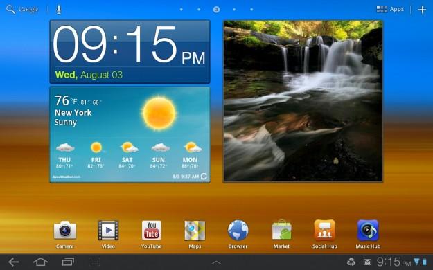 TouchWiz Home Screen Galaxy Tab