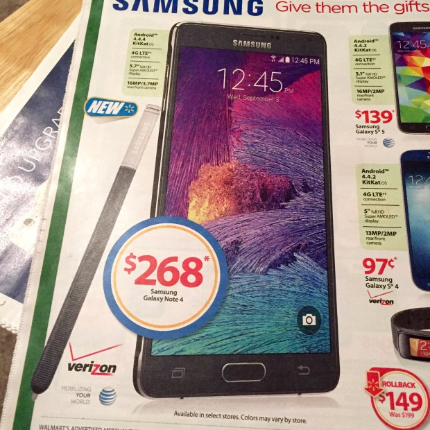 Save $40 with this Walmart Galaxy Note 4 deal.