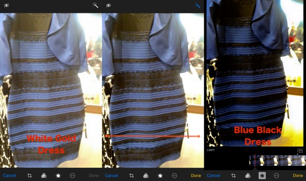 When you use the iPhone Photos app to fix the photo of the white gold dress it becomes a black and blue dress.