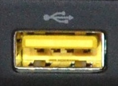 Yellow USB port charging