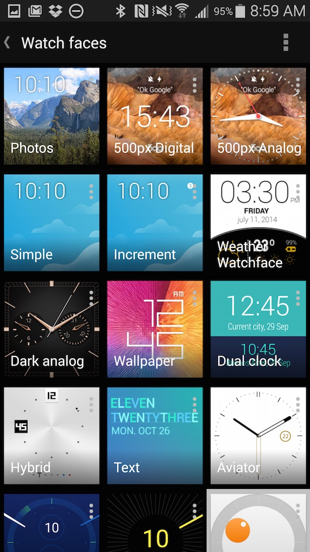 android wear watch faces selector