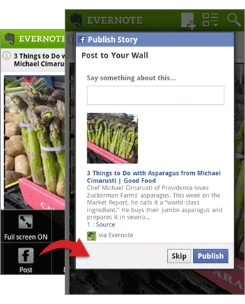 Evernote for Android Facebook