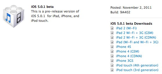 apple ios 5 0 1 beta