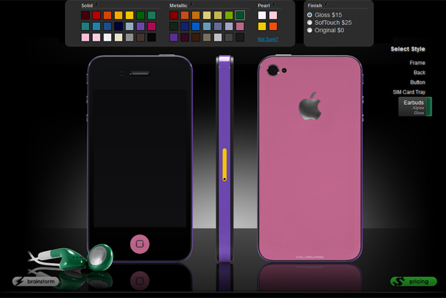 Color choices on Colorware for the iPhone 4S
