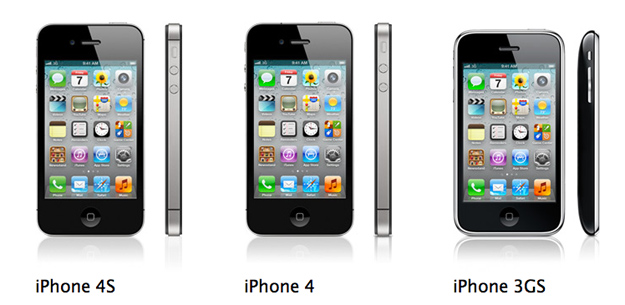 Compare Phones, iPhone 4S, iPhone 4, iPhone 3GS