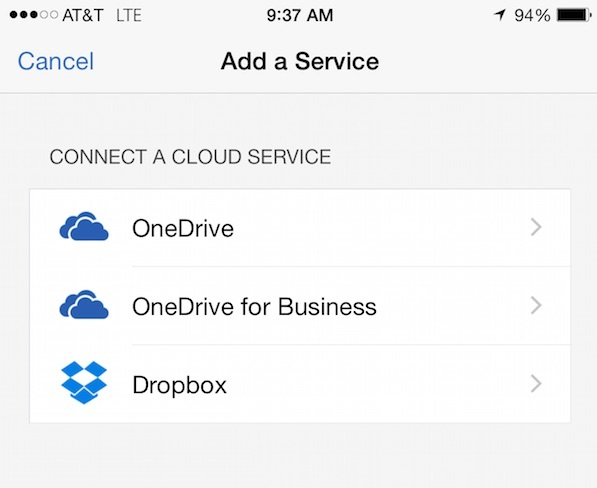 connect dropbox to office for iphone