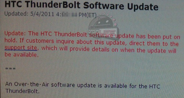 ThunderBolt Update Delay