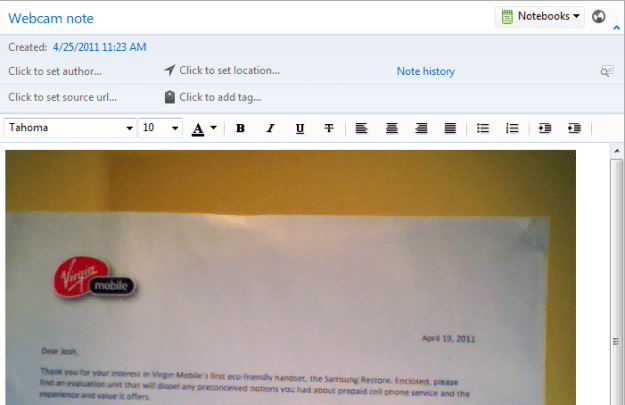 evernote webcam note example
