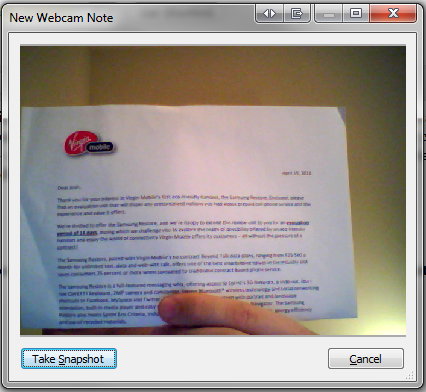 evernote webcam note capture
