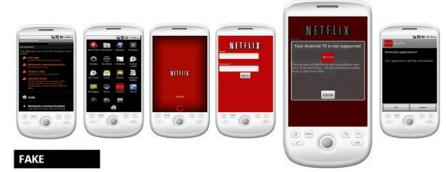 Screens from the fake Netflix app