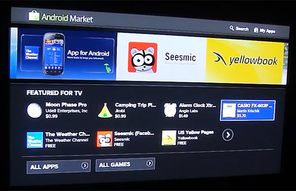 Google TV Honeycomb Beta Android Market