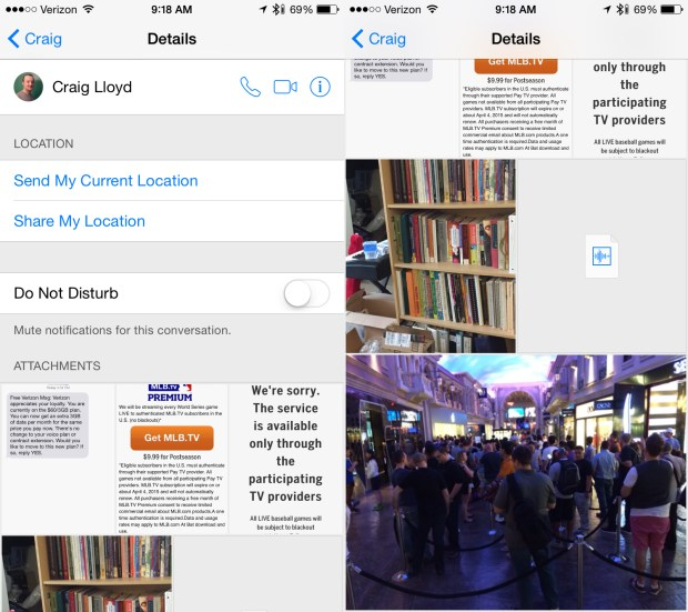 Quickly see all the images and attachments sent between you and a contact.