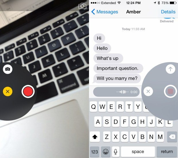 Quickly send a photo, video or audio message in iOS 8.