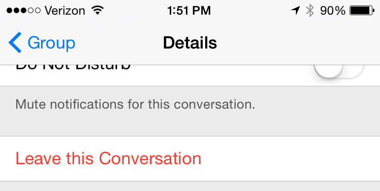 how to leave a group message on ios 10