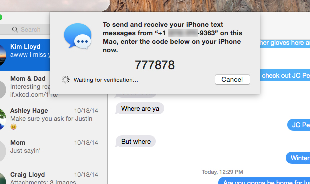 Enter the six digit code to link your Mac and your iPhone text messages.